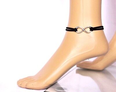 Retro Fußkette Fußkettchen Unendlichkeit Schwarz Silberf. Leder-Imitat 22,5+6 cm