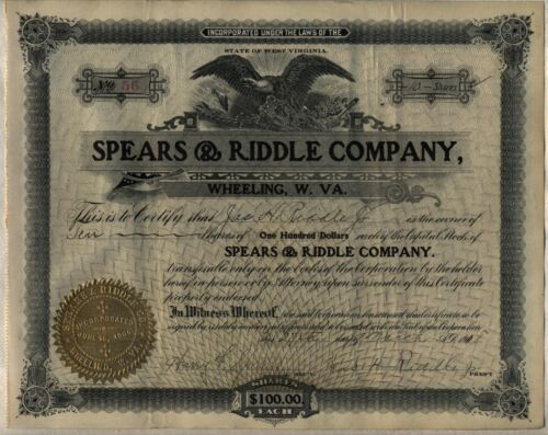 Spears & Riddle Stock Certificate Oil Refining Wheeling West Virginia