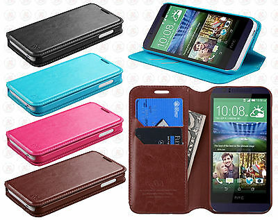 For HTC Desire 510 Premium Wallet Case Pouch Flap STAND Cover + Screen Protector (Htc Desire 510 Flap Case)