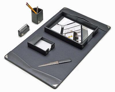 Desk Accessories - 6-piece Grey Leather Desk Set