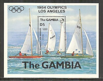 Gambia # 514, 1984 Yachting - Summer Olympic Games in Los Angeles, SS1 Unused NH