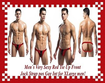 Men`s Very Sexy Red Tie Up Front Jock Strap pos Gay Int for XLarge men.