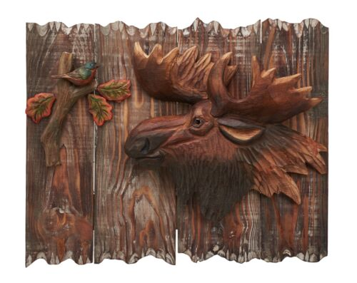 Moose Wood Carving 3D Wall Art Cabin Rustic Decor