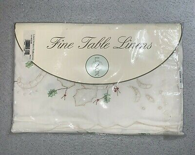 Lenox Fine Table Linen Tablecloth Holiday Embroidery Antique Ecru   60 x 84