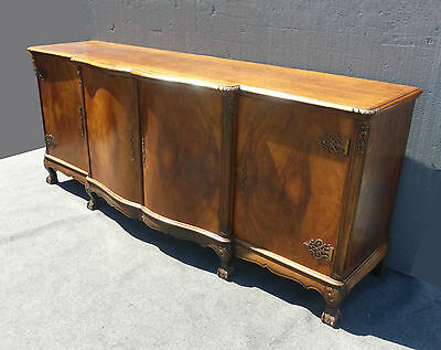 Vintage French Country Provincial SIDEBOARD Buffet CREDENZA Burl Wood Claw Feet