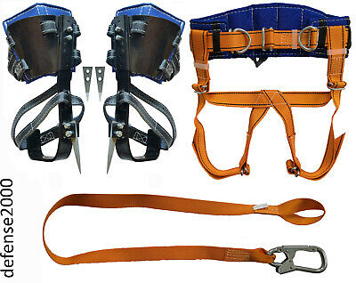 Tree Climbing Spike Set With Adjustable Pads Safety Belt With Straps Lanyard