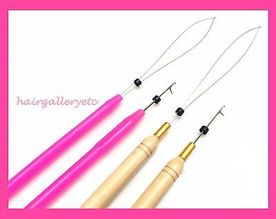 Hair Needle - Micro Link Ring Beads Feather Hair Extension Hook Needle Loop Threader I tip