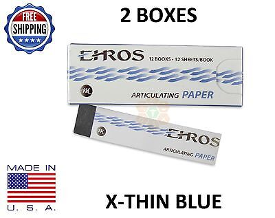 2 Boxes Dental Articulating Paper Extra X-thin Blue 288 Sheets Made In Usa