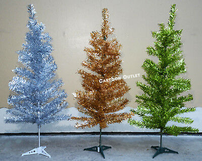 TINSEL SILVER GREEN GOLD/BRONZE ARTIFICIAL CHRISTMAS TREE UNDECORATED TABLE TOP  ()
