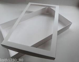 5 MEDIUM WHITE WINDOW SHIRT BOXES, GARMENT GIFT LINGERIE JEWELLERY