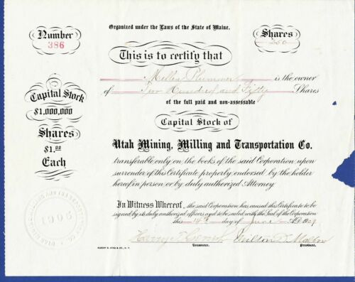 1909 Stock Certificate UTAH MINING, MILLING and TRANSPORTATION COMPANY