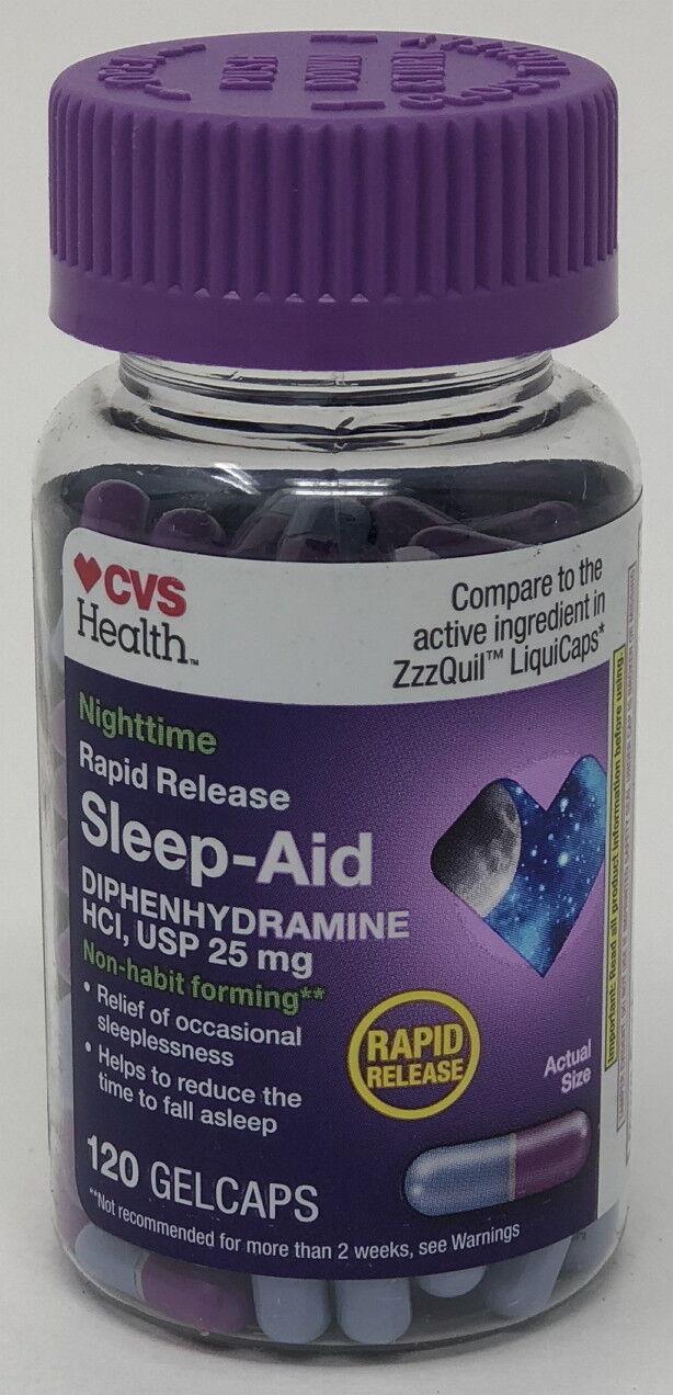 120-Gelcaps CVS Rapid Release Sleep Aid Diphenhydramine HCI