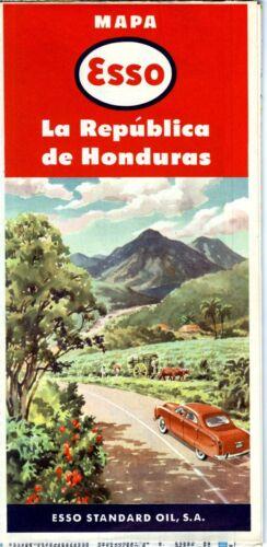 1953 Esso Road Map: Honduras NOS