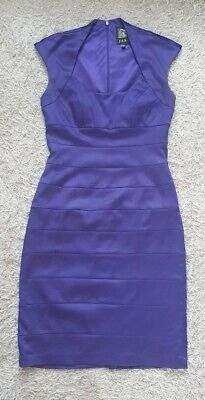 Jax Bandage Dress UK Size 8, Purple Satin like Bodycon ladies dress