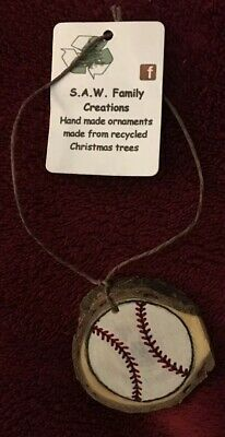 Baseball Felt Ornament Fair Trade Handmade Christmas Tree Decor Artisan Gift ()