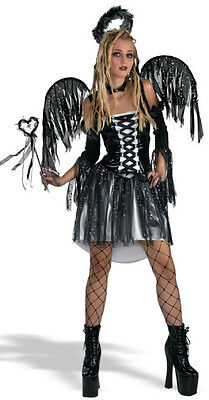 Gothic Fallen Angel Adult Black Demon Costume 12-14 (Adult Fallen Angel Costume)