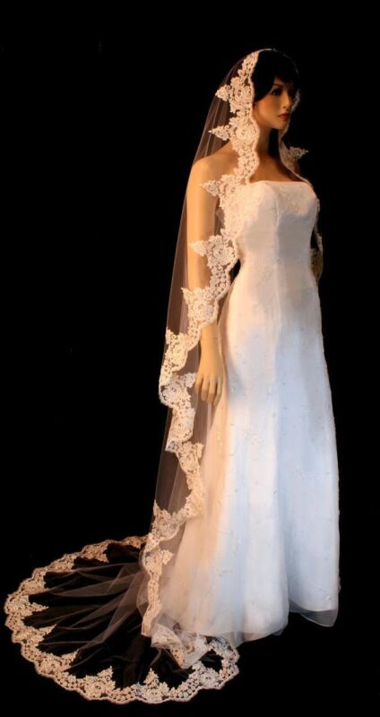 Alencon Lace Beaded Scalloped Edge Cathedral Wedding Bridal Veil White Ivory