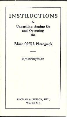 Vintage Edison Opera Phonograph Operating Instruction Booklet 12-11-1911 REPRINT