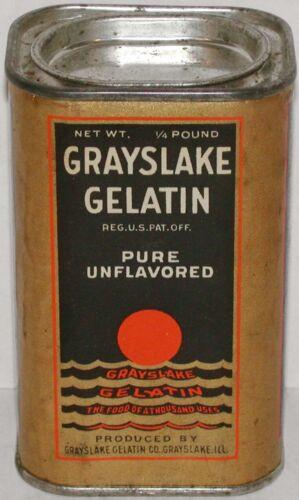 Vintage tin GRAYSLAKE GELATIN The Food of a Thousand Uses Greyslake IL 1929 full