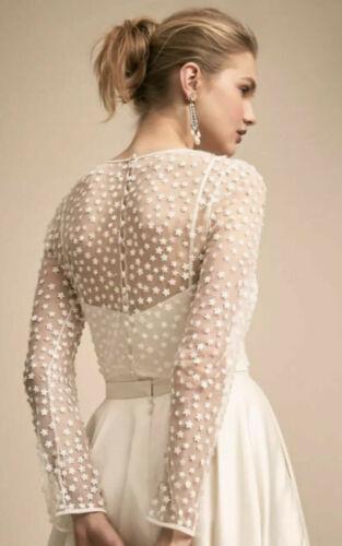 BHLDN Jenny Yoo Amal Bridal Wedding Cape Topper Dainty Floral Sheer S New