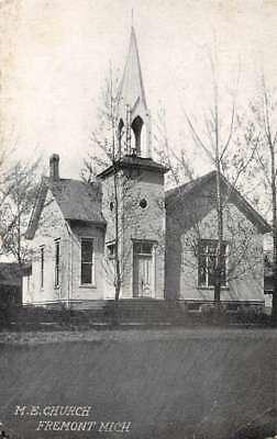 For sale Fremont Michigan birds eye view Methodist Episcopal Church antique pc Z42056