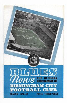 1958/59 Fairs Cup - BIRMINGHAM CITY v. ZAGREB XI