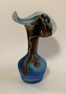 Vtg Filip Ravert Romanian Hand Blown Art Glass Vase Blue Copper Overlay Fluted