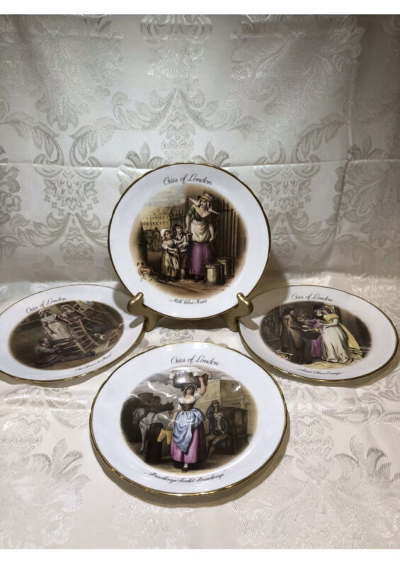 "Tuscan Fine English Bone China,made in England, «Cries Of London» 4 Plates,8"""