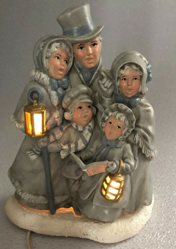 Marvelous Large Lighted Ceramic Mold Christmas Family Of Carolers Sparkles