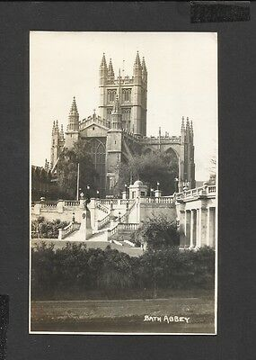 Vintage Black & White  Real Photo Postcard Front View Bath Abbey unposted