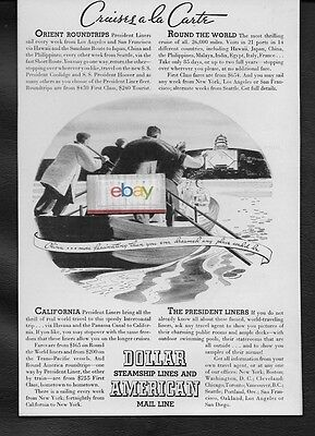 Dollar Steamship Lines 1932 American Mail Line Orient   Round The World Ad