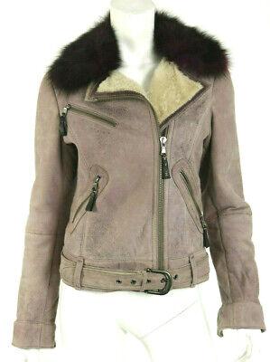 HENRY BEGUELIN Mauve Suede & Purple Fox Fur Shearling Motorcycle Jacket 42
