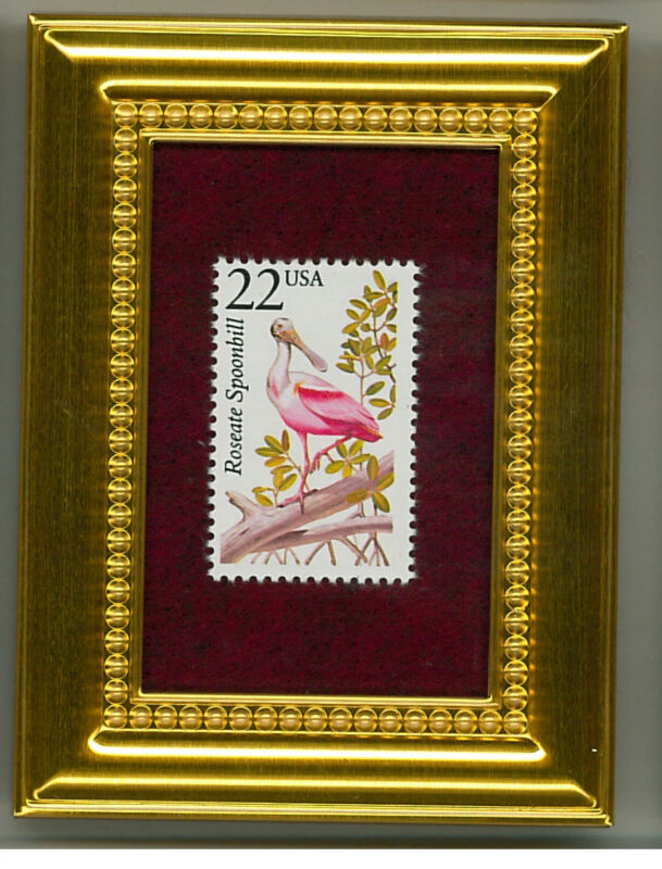 ROSEATE SPOONBILL A COLLECTIBLE GLASS FRAMED POSTAGE MASTERPIECE!