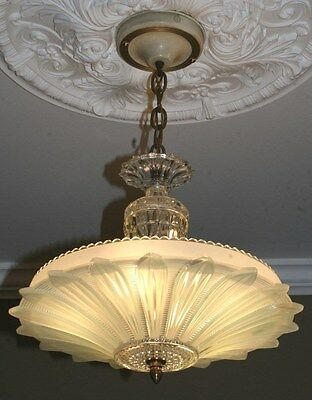 Antique jadeite green glass sunflower art deco light fixture ceiling chandelier
