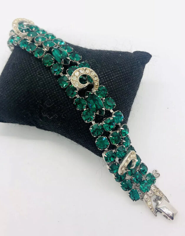 Signed WEISS Emerald Green Rhinestone Bracelet Icing Accents Vintage Jewelry