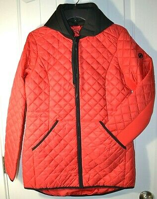NWT WOMEN'S MICHAEL KORS RED QUILTED COAT W/ FILL & HOOD SZ S MED 1X 2X 3X