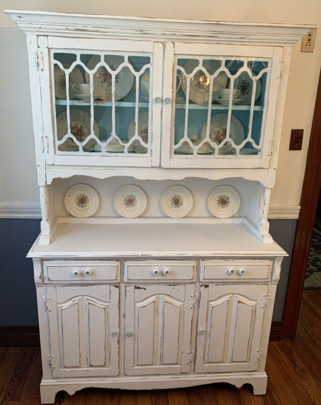 Refab White and Blue Hutch Country Shabby Chic Style China Cabinet 4