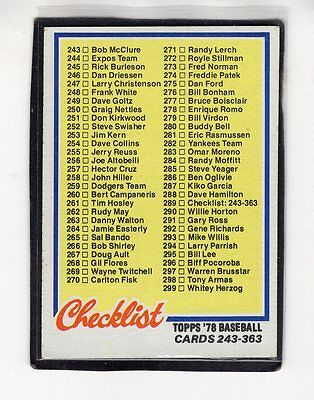 1978  CHECKLIST ( Clean ) - Topps Baseball Card # 289 - No. 243 to 363