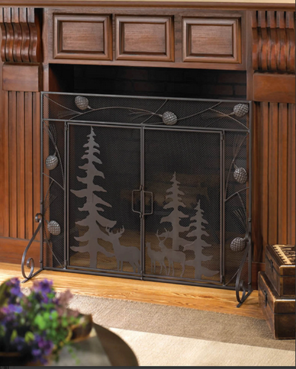 deer country single panel IRON hearth portable mesh fire fir