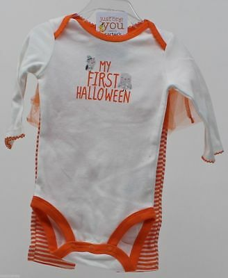 Halloween Carter's My First Halloween White Bodysuit Striped Pants Sz 12 months