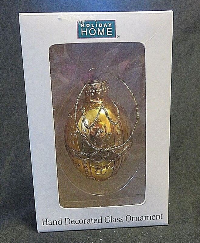 Christmas Ornament Egg Gold Tone Glass Hand Painted Glitter Decorated No. GFM89