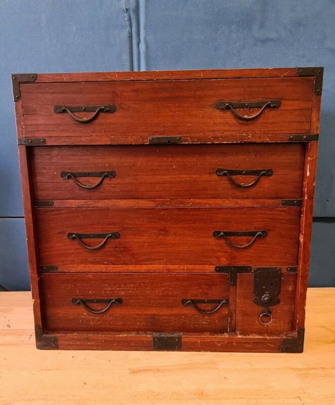 Antique Japanese  Tansu  5 drawer Hand Crafted Chest