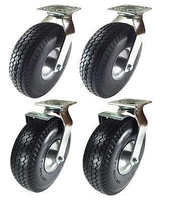 10 X 3-12 Pneumatic Wheel Casterfoam-flat Free2 Swivels 2 Swivels Wbrake