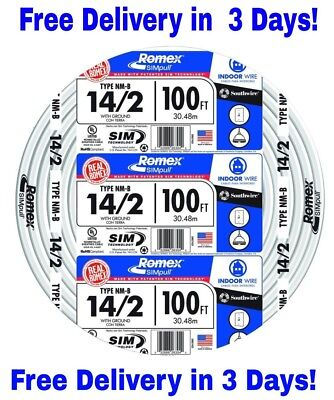 142 Wground Romex Indoor Electrical Wire 100 Feet All Lengths Available