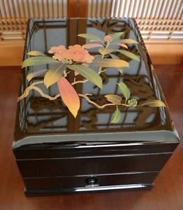 Japanese  1990 Not Chinese Wood Lacquer Flower Jewellery Box Cleveland Redland Area Preview