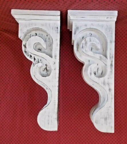 PAIR of Victorian Wood Corbels Distressed White (7601 DW 029 030)