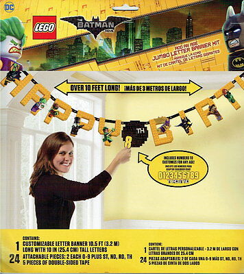 LEGO BATMAN MOVIE LARGE PARTY ADD AN AGE BANNER  - OVER 10 FEET LONG