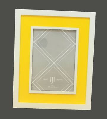 Photo Frame Sunny Bright Lemon Yellow And White by Isaac Jacobs For 5x7 Picture Bright Yellow Picture Frame