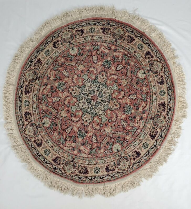 Vintage Round Wool Rug Asian Bohemian Turkish Persian With Fringe 41""