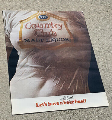 1975 Country club Beer Wet T-Shirt Poster, Goetz by pearl - Original NOS